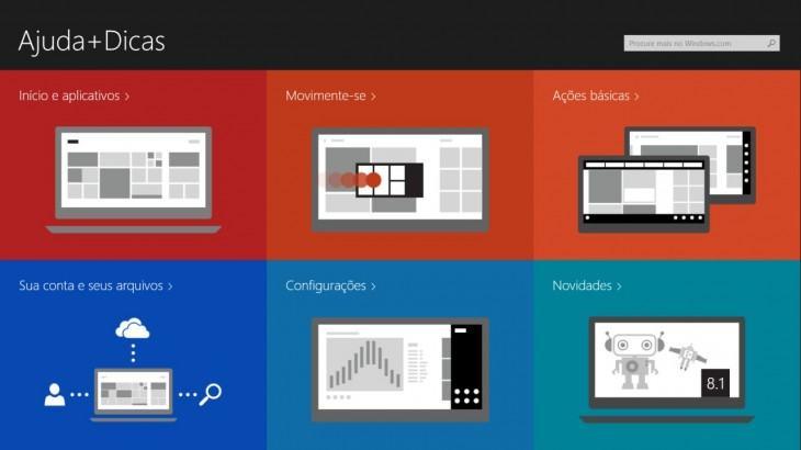 Dicas e informações de uso do Windows 8.1.