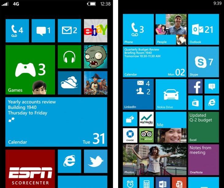 Telas iniciais do Windows Phone 8 com duas e três colunas.