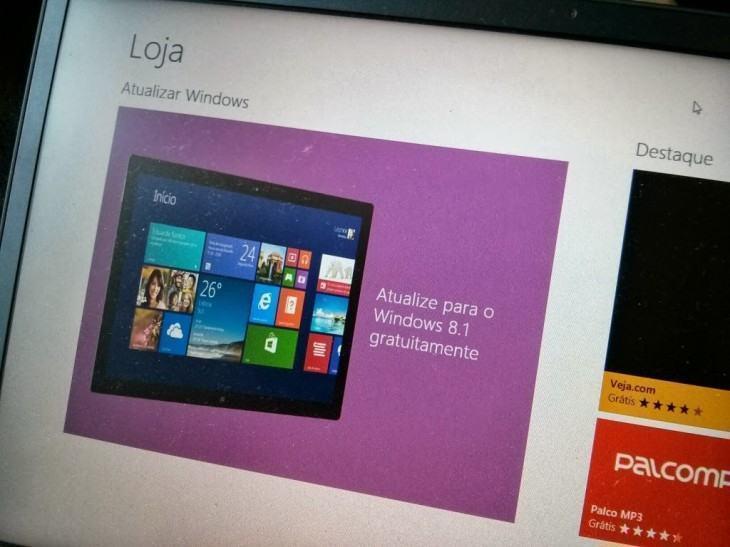 A atualização aparece na Loja do Windows 8.