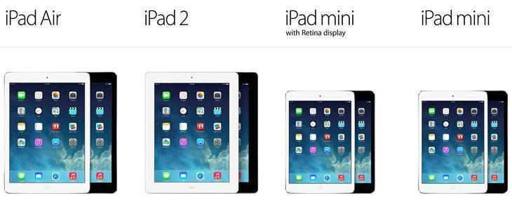 A família iPad em 2013.