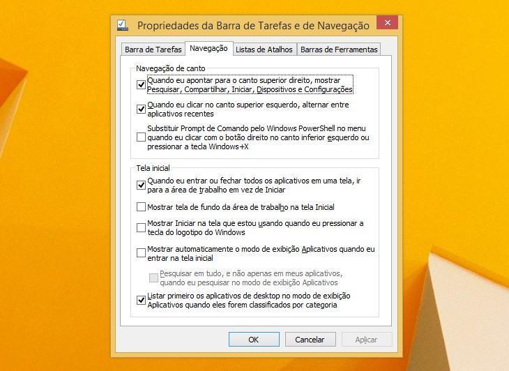 Novas opções amigáveis para a área de trabalho clássica no Windows 8.1.