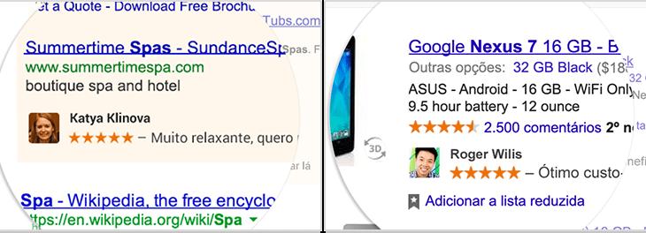 Como ficarão as recomendações compartilhadas do Google em anúncios.