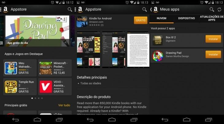 A Amazon Appstore no Android.