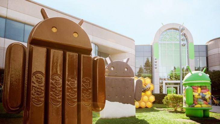 Estátua do KitKat e outros doces/Androids antigos.