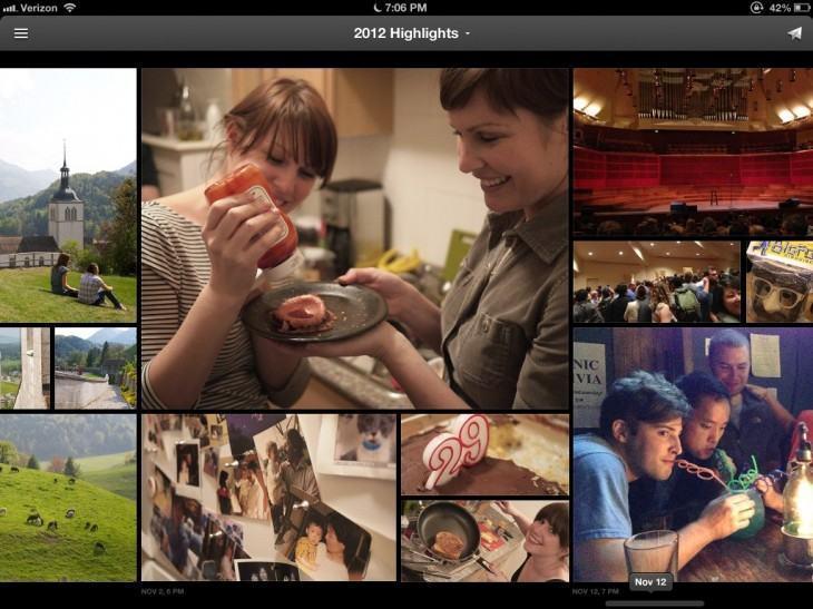 Era assim que o Everpix exibia fotos destacadas no iPad.