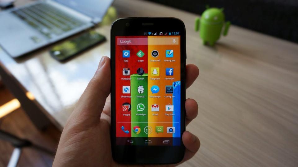 O Moto G vem com um Android quase puro.