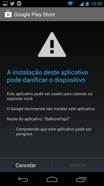 O Android 4.2 bloqueia apps maliciosos.
