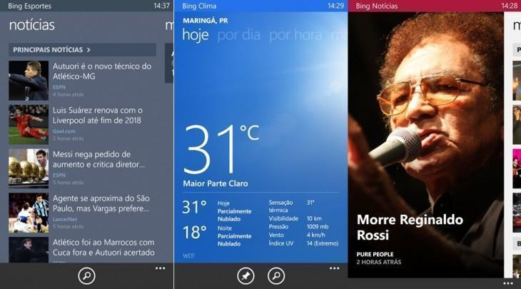 Screenshots dos apps do Bing.