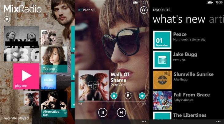 Screenshots do MixRadio.