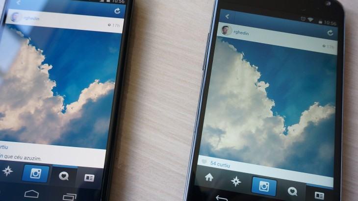 Telas do Moto X e Nexus 4 lado a lado.