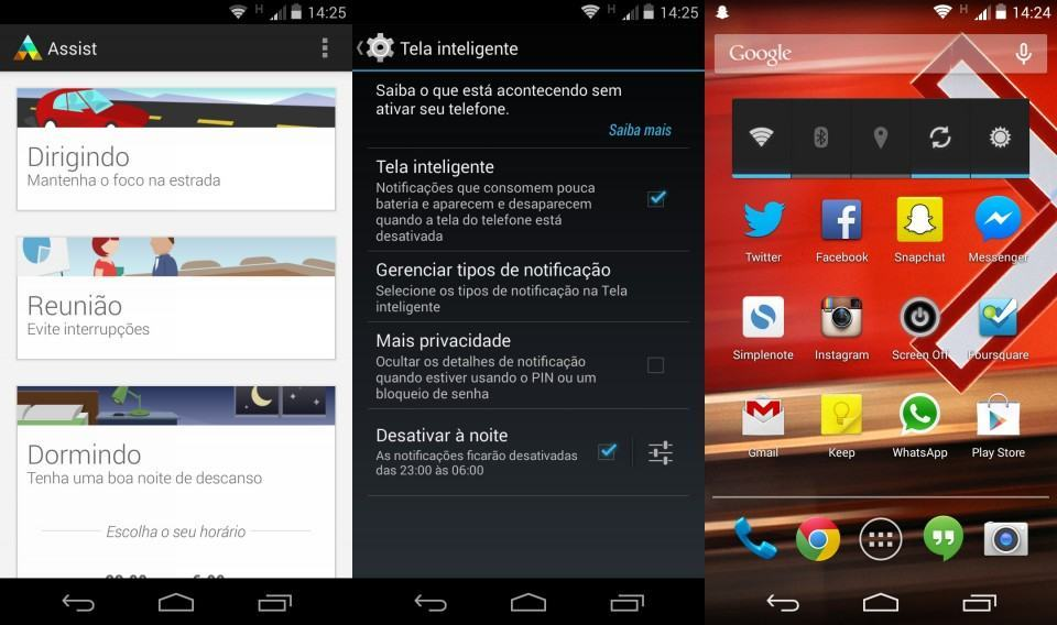 Algumas telas do Android puro do Moto X.