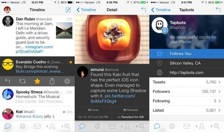 Screenshots do Tweetbot 3.