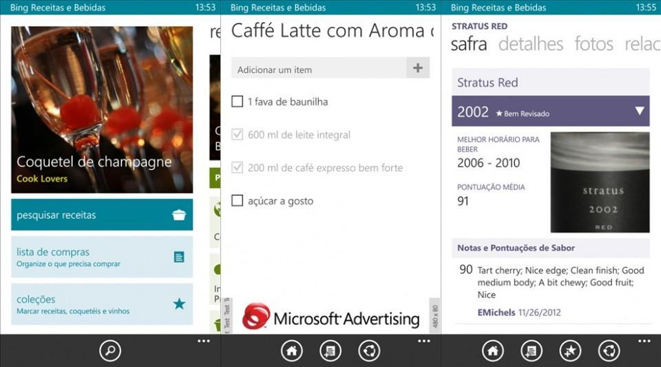 Screenshots do Bing Receitas e Bebidas.