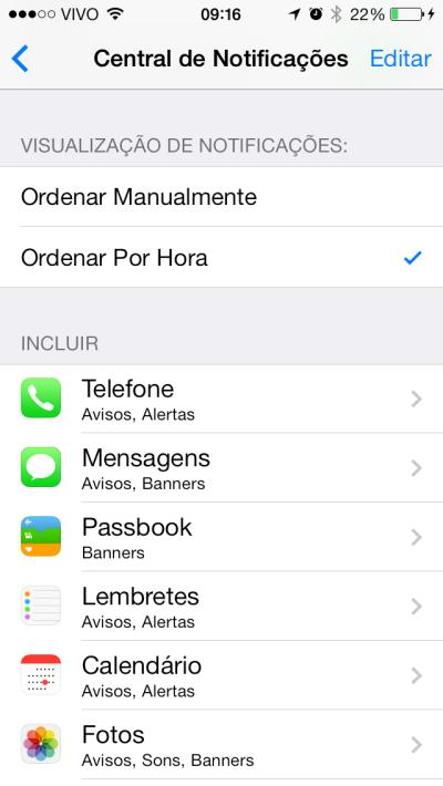 É fácil configurar as notificações no iOS.