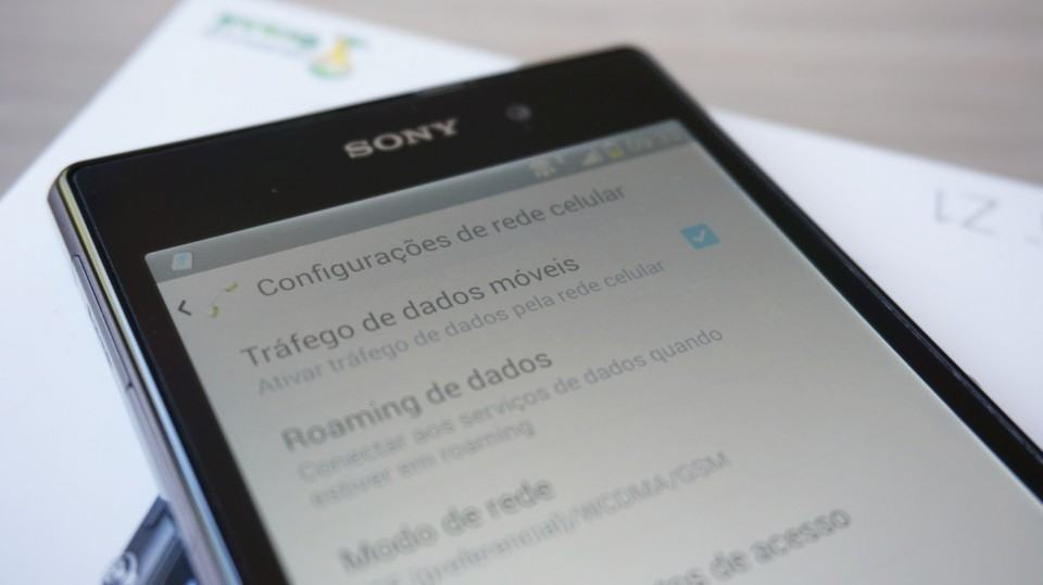 Redes móveis no Android do Xperia Z1.