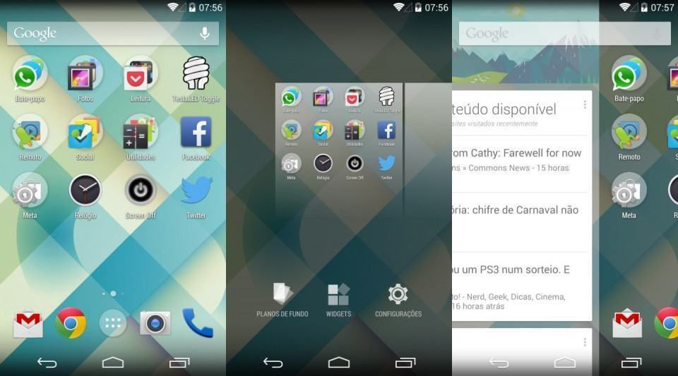 Screenshots do Google Now Launcher.