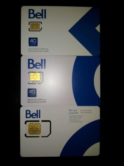 Os diferentes tamanhos de SIM cards.