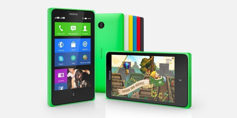 Nokia X de frente e de costas.