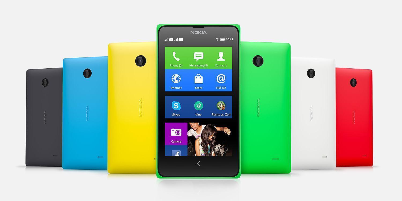 Nokia X em diversas cores.