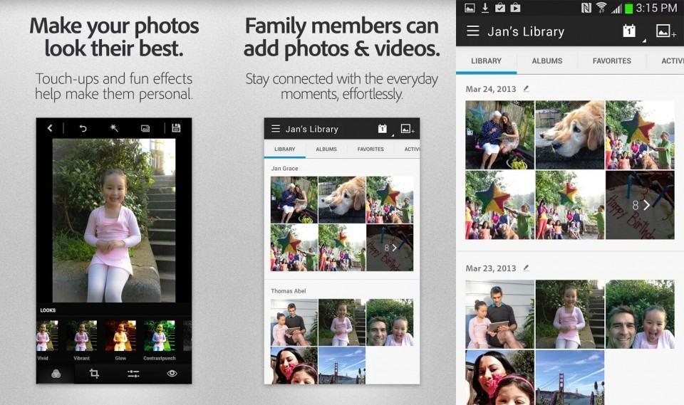 Screenshots do Adobe Revel.