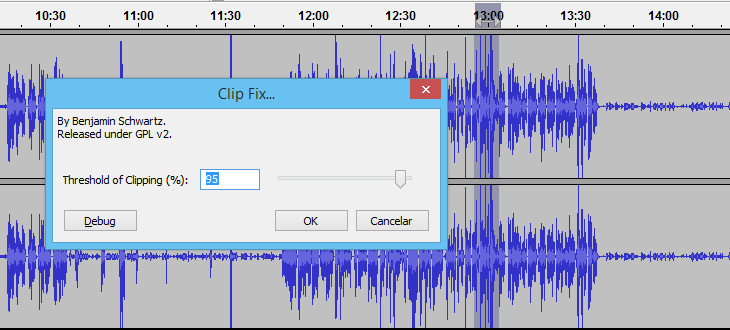 Clip Fix, efeito do Audacity, corrige o clipping.