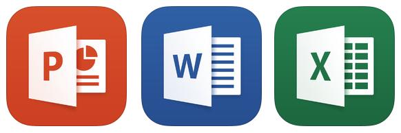 Excel, PowerPoint, Word, ícones.