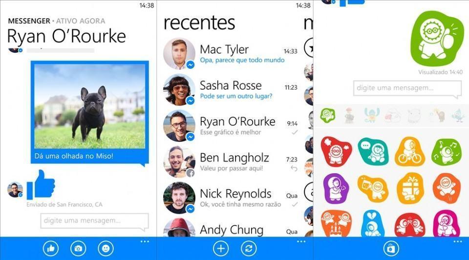 Screenshots do Facebook Messenger.