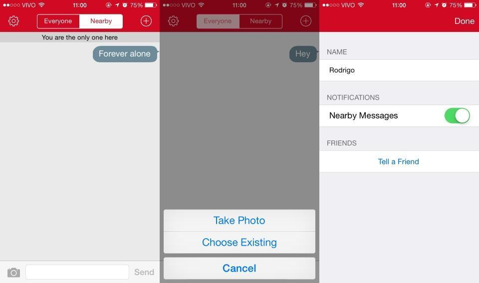 Screenshots do FireChat.