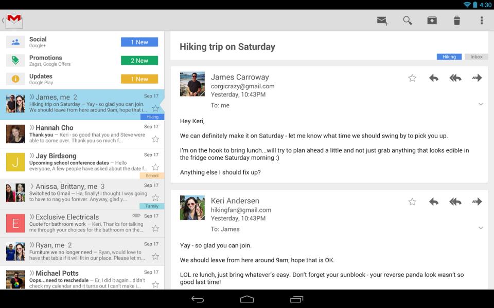 App do Gmail em um tablet Android.
