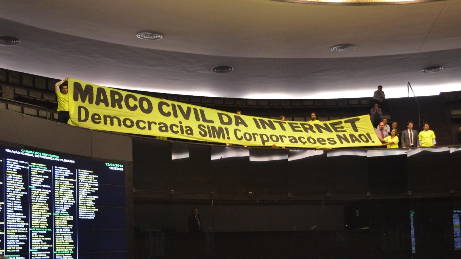 Faixa pró-Marco Civil da Internet na Câmara dos Deputados.