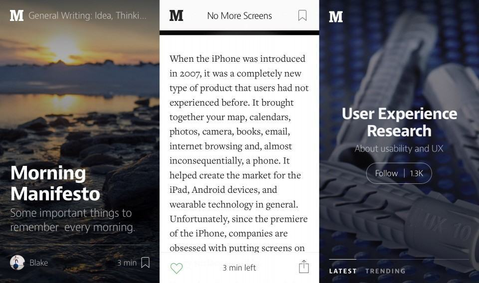 Screenshots do Medium.