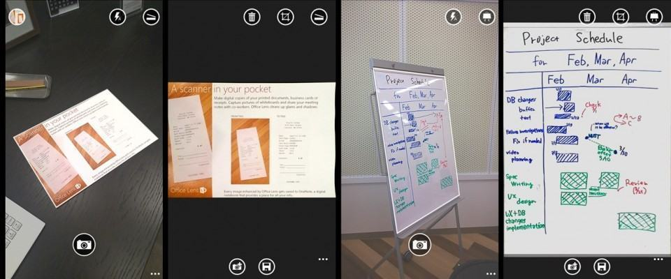 Screenshots do Office Lens.