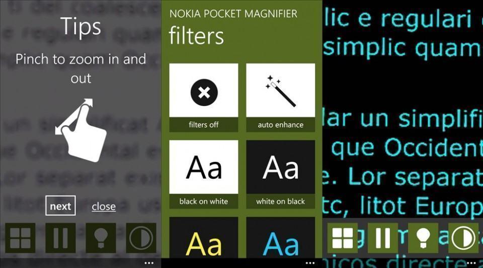 Screenshots do Pocket Magnifier.