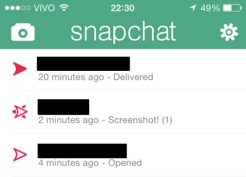 O Snapchat avisa quando alguém tira um print da tela.