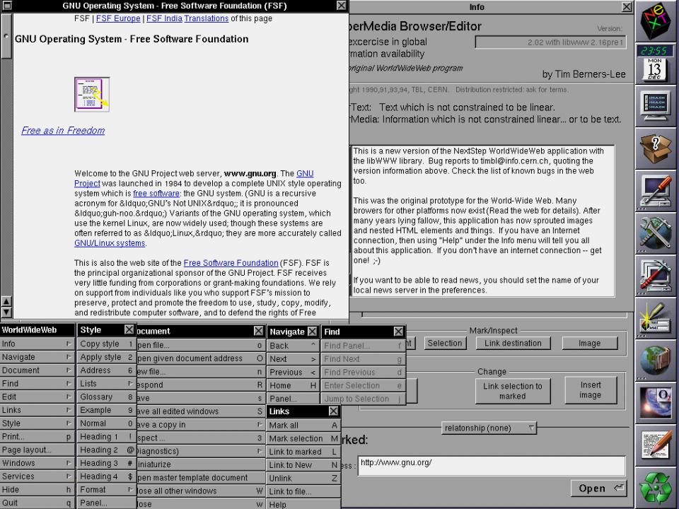 O WorldWideWeb, primeiro navegador/editor web.