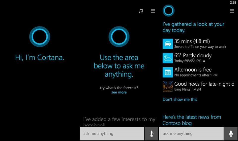 Cortana, nova assistente pessoal do Windows Phone.