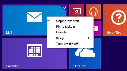 Menus de contexto na tela Inicial do Windows 8.1 Update.