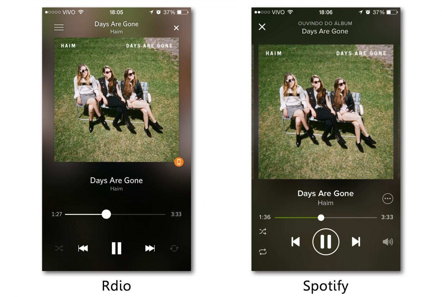 Screenshots do Rdio e Spotify, tocando HAIM, no iPhone.