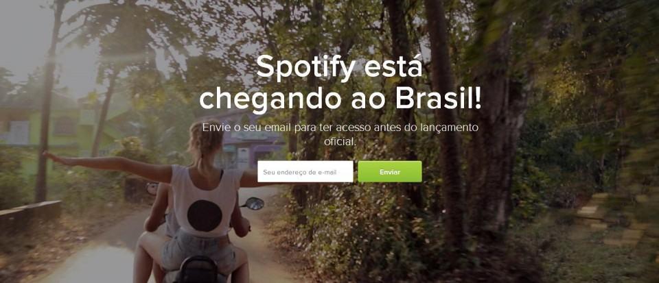 Aviso no site brasileiro do Spotify.