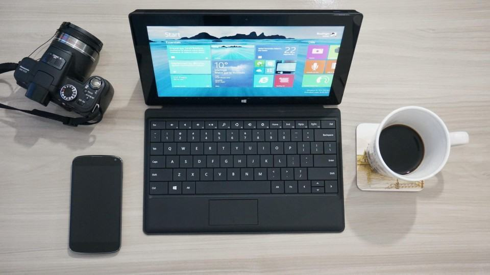 Surface Pro na minha mesa de trabalho.