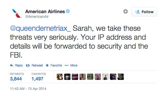 A resposta da American Airlines a Sarah.