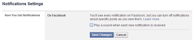 Nada de sons de notificação no Facebook.
