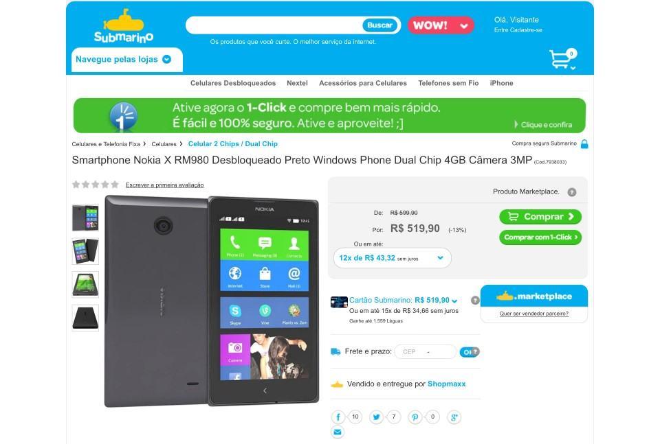 Nokia X à venda antes da hora no Brasil.