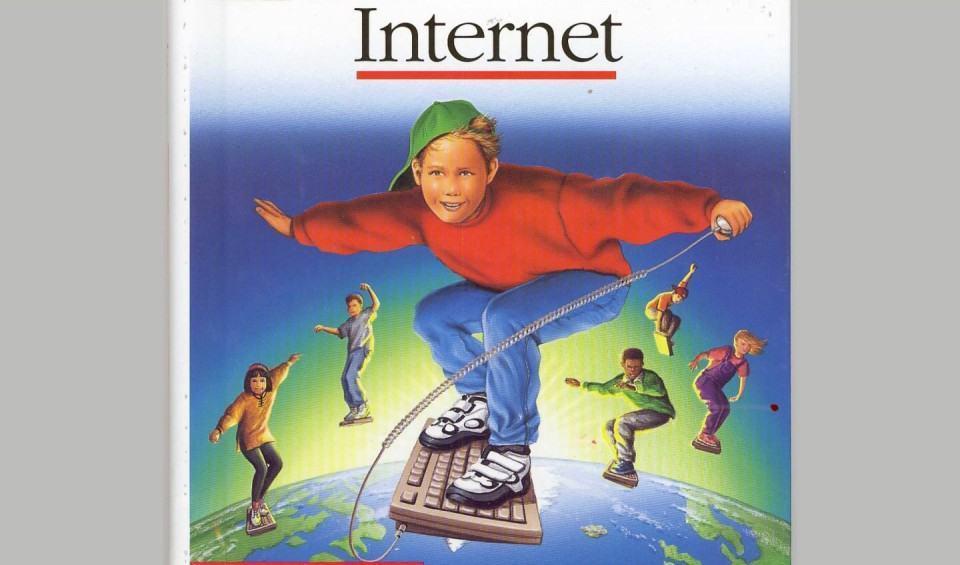 Imagem clássica de menino surfando na Internet.