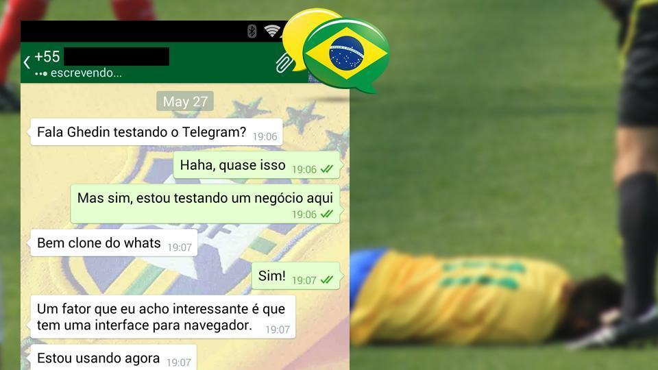 Montagem com ZapZap e Neymar. Caído no gramado.