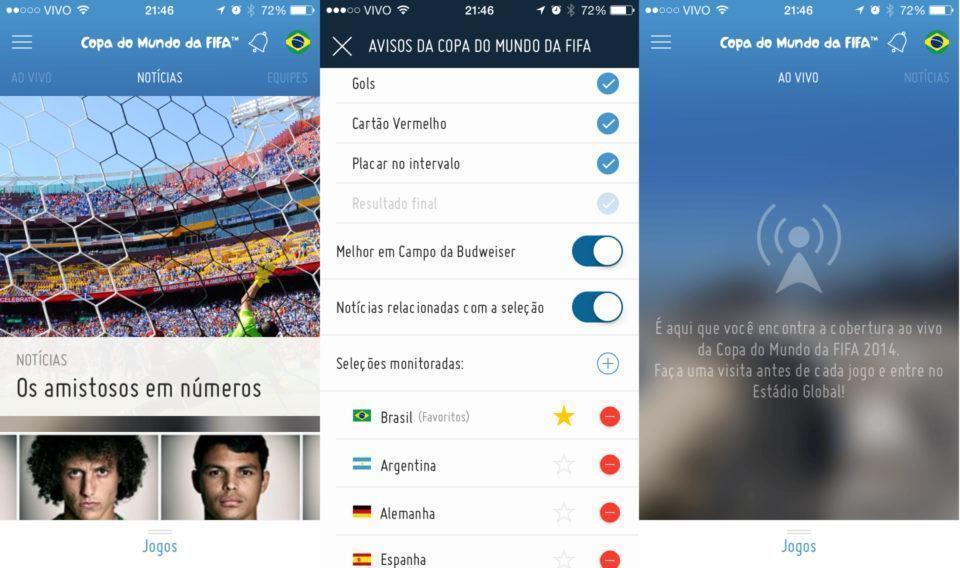 App oficial da FIFA no iPhone.