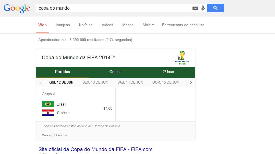 Screenshot de uma pesquisa no Google por 'copa do mundo'.