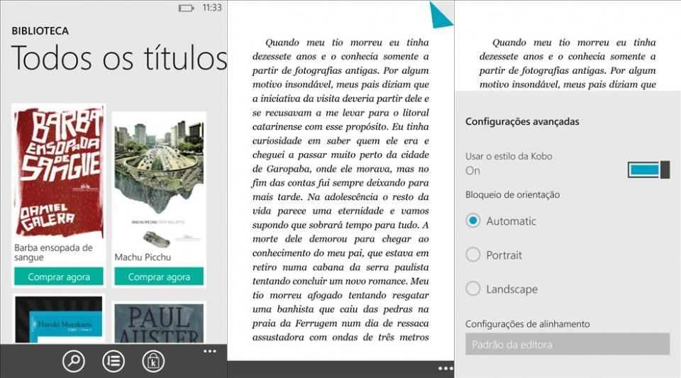 Screenshots do Kobo Books.