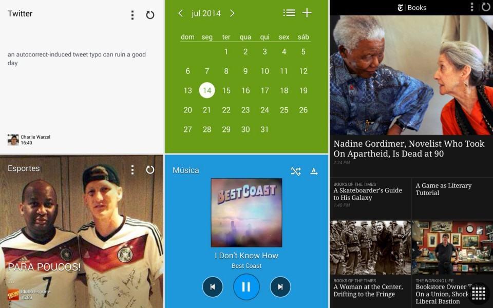 Blocos de informações na tela inicial do Android.