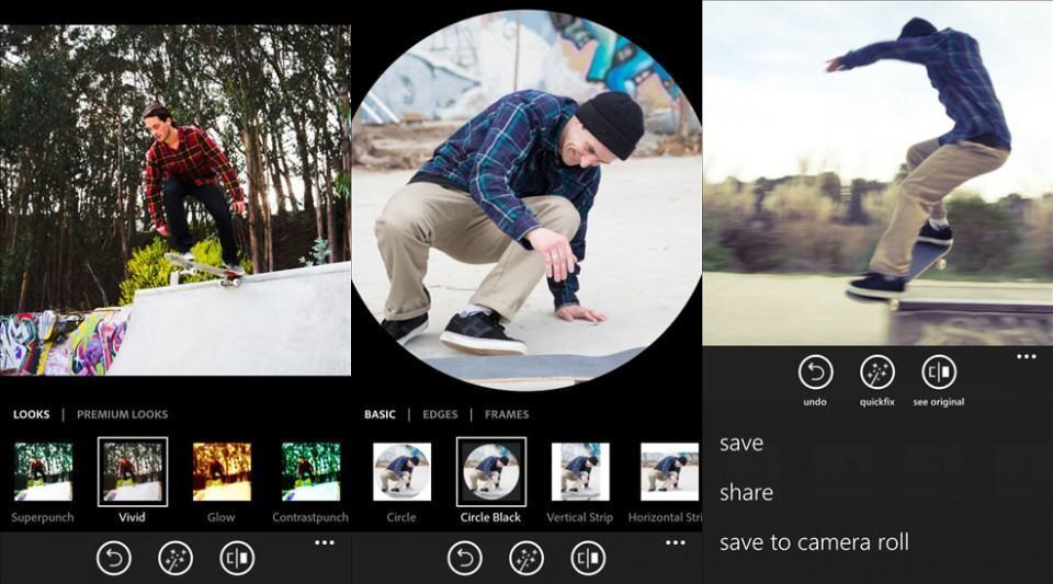 Screenshots do Photoshop Express.